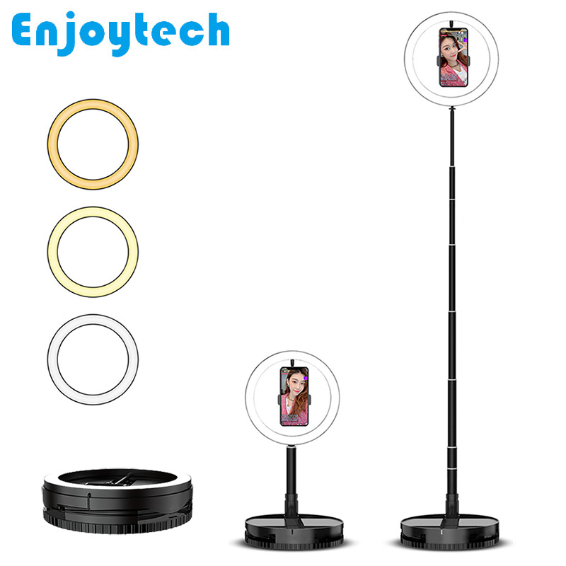 New Foldable Live Streaming Mobile Phone Mounts Holders with LED Ring Flash Light Lamp Desktop Stands Tripod for Video Bloggers