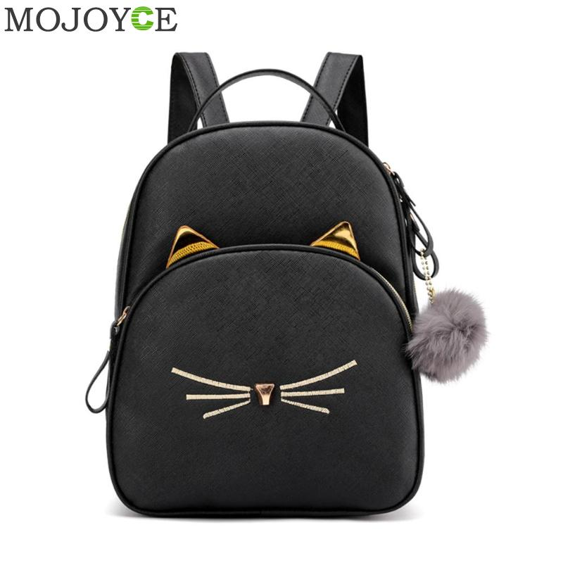 Women Rucksack Teenagers Backpack PU Leather School Bags For Girls Cartoon Cat Square Satchel Light Shoulder Bag Mochila Mujer