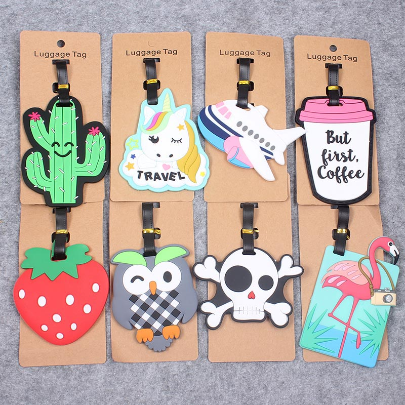 Travel Accessories Cute Animals & Fruits Luggage Tag Silica Gel Suitcase ID Addres Holder Baggage Boarding Tags Portable Label