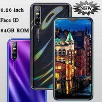 Teléfono Inteligente M2 Pro, pantalla gota de agua de 6,26 pulgadas, Android 4G RAM 64G ROM, identificación facial, Quad Core, cámara HD de 13MP