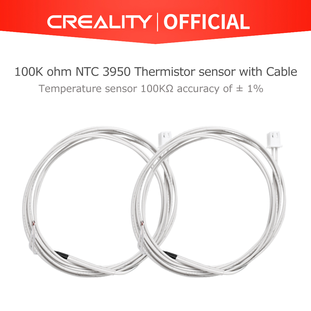 CREALITY 3D Printer Parts 2Pcs-Lot 5V 100K ohm NTC 3950 Extruder Thermistor With Cable For Printer