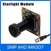 Starlight Placa de módulo de cámara con lente IMX307 y F1.2 de 4mm, placa de módulo de cámara AHD de 1080P con Control OSD Coaxial UTC, visión nocturna colorida