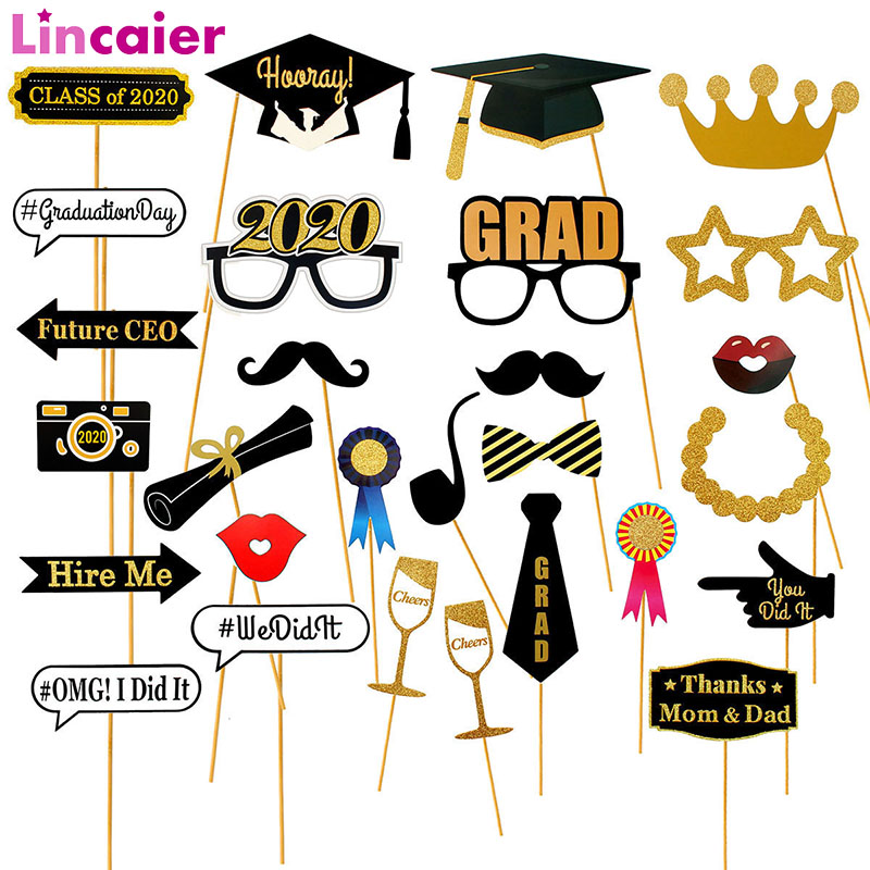 28pcs Graduation Photo Booth Props Graduation 2020 Party Decoration Graduacion Photobooth Graduated Class Of 2020 Party Supplies
