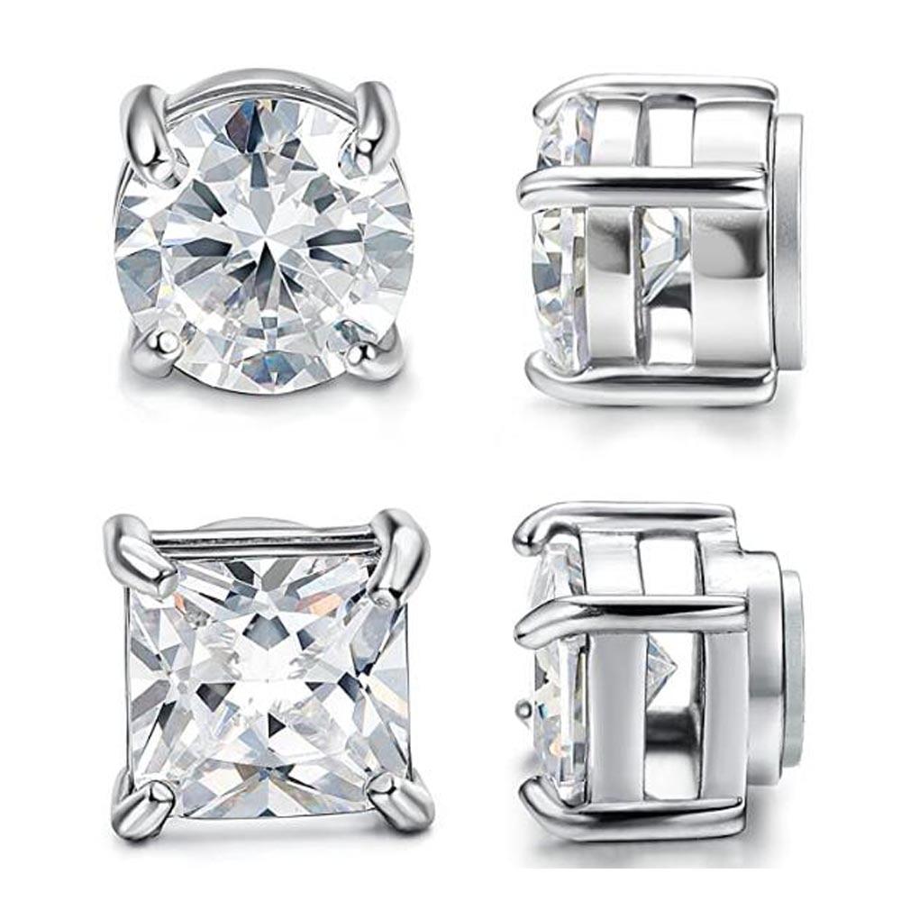 Hot Fashion Women Men Punk Color Black Magnet Stainless Steel White Black Zircon Earless Round Magnet Stud Earrings Jewelry