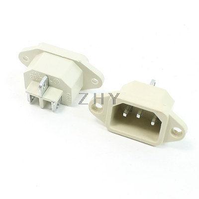 Işıklar ve Aydınlatma'ten Konnektörler'de 2 adet Beyaz 250V 10A C14 Güç Kaynağı Fiş Adaptörü title=