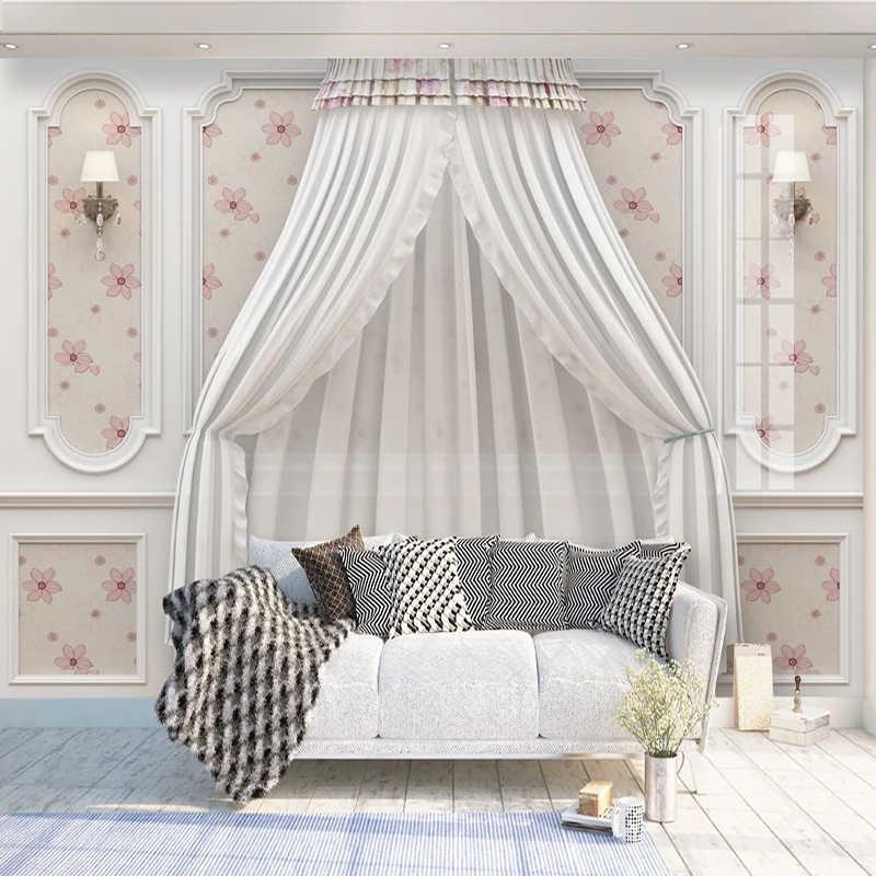 Dekoratif Duvar Kağıdı Açık Lüks Güzel düğün Odası Beyaz Çiçek 3d Kabartma TV Arka Plan duvar resmi Sticker Oturma Odası Için