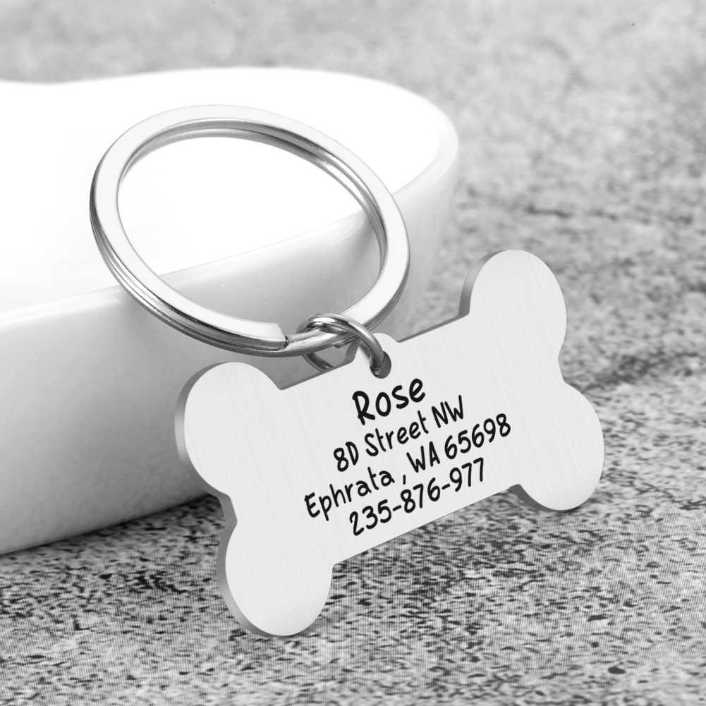 Đồng Hồ Nam Dây Thép Không Gỉ Khắc Thú Cưng ID Thẻ Bài Móc Khóa 2 Mặt Hình Chú Chó Phụ Kiện Trang Trí Mèo Vòng Cổ Chó Tùy Chỉnh Các Thẻ