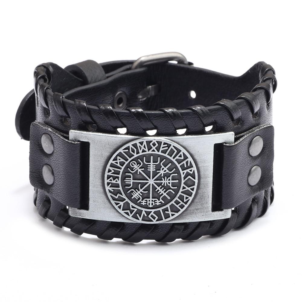 Nordic Viking Designer Alloy Charm Bracelet Male Wide Leather Weave Adjustable Wristband Cuff Bangle Men Punk Jewelry