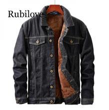 купить Rubilove winter Men Jacket And Coat Warm Fleece Denim Jacket Fashion Mens Jean Jackets Outwear Male denim jacket дешево