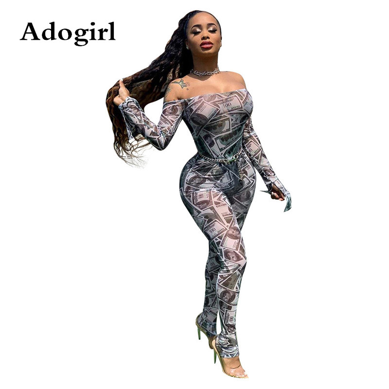 Adogirl Dollar Print Sheer Mesh Women Off Shoulder Bodycon Jumpsuit Women Sexy Flare Sleeve Skinny Romper Night Club Overalls