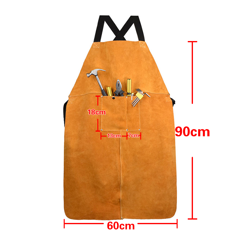 Tools : Cow Leather Apron Welding Heat Insulation Protection Welders Blacksmith 90x60cm High Temperature Apron Anti-scalding Aprons