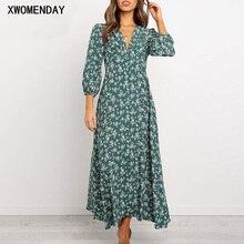Женское длинное шифоновое платье с v-образным вырезом, элегантное зеленое винтажное цветочное женское платье с длинным рукавом, приталенные платья для девушек, платье-джемпер