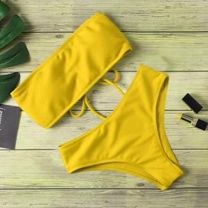Sexy Bikini Swimsuit Strapless High-Waist Padded Women Monokin Pure-Color