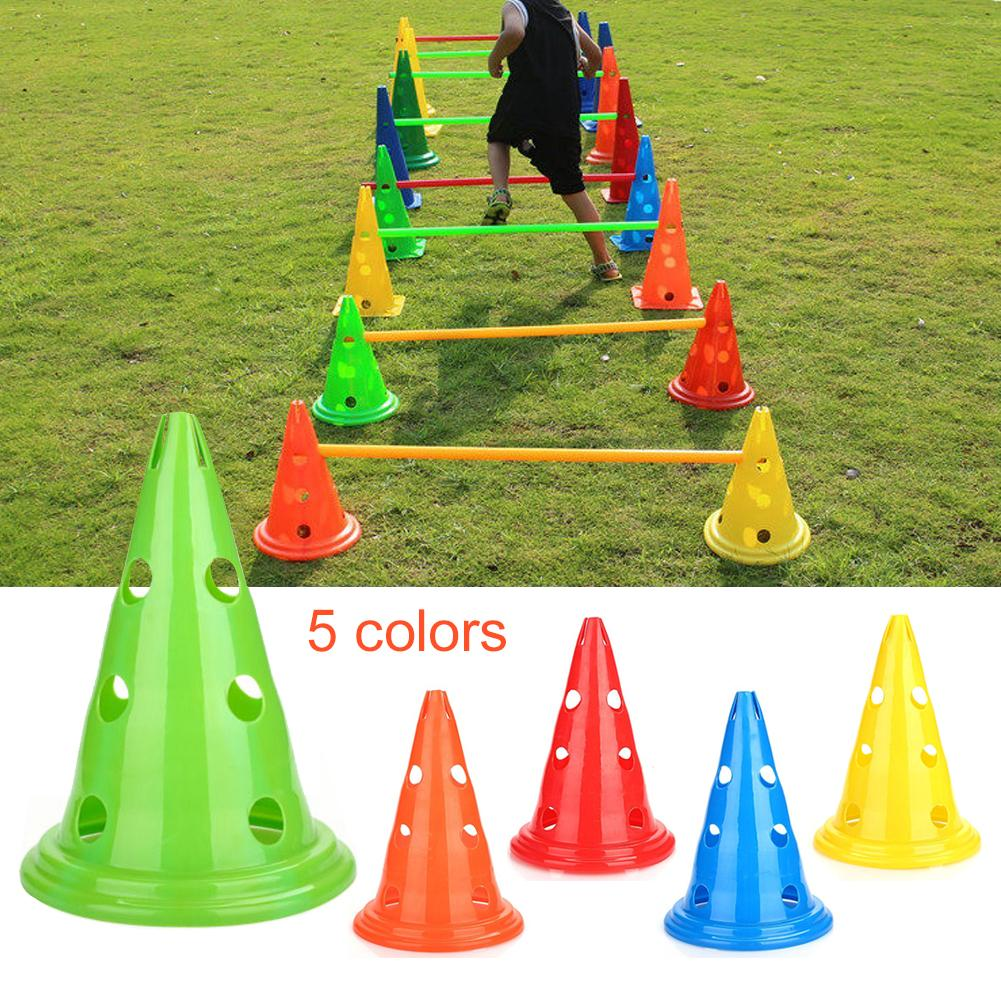 New Football Training Logo Barrel Conical Obstacle Barrel Training Equipment Round Bottom With Hole Sports Accessories