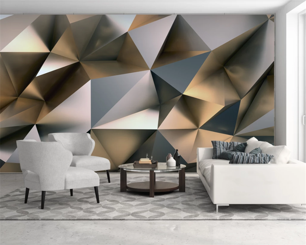 beibehang custom modern classic decorative painting wallpaper abstract gold metal stereo background background papier peint