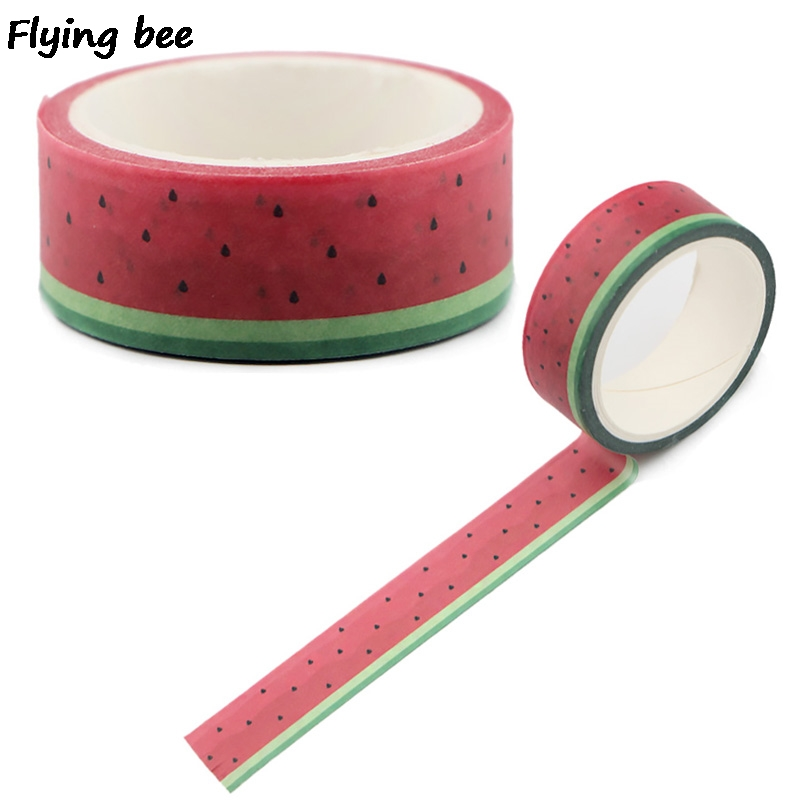 Flyingbee 15mmX5m Watermelon Paper Washi Tape DIY Planner Masking Tape Adhesive Tapes Stickers Decorative Stationery Tapes X0500