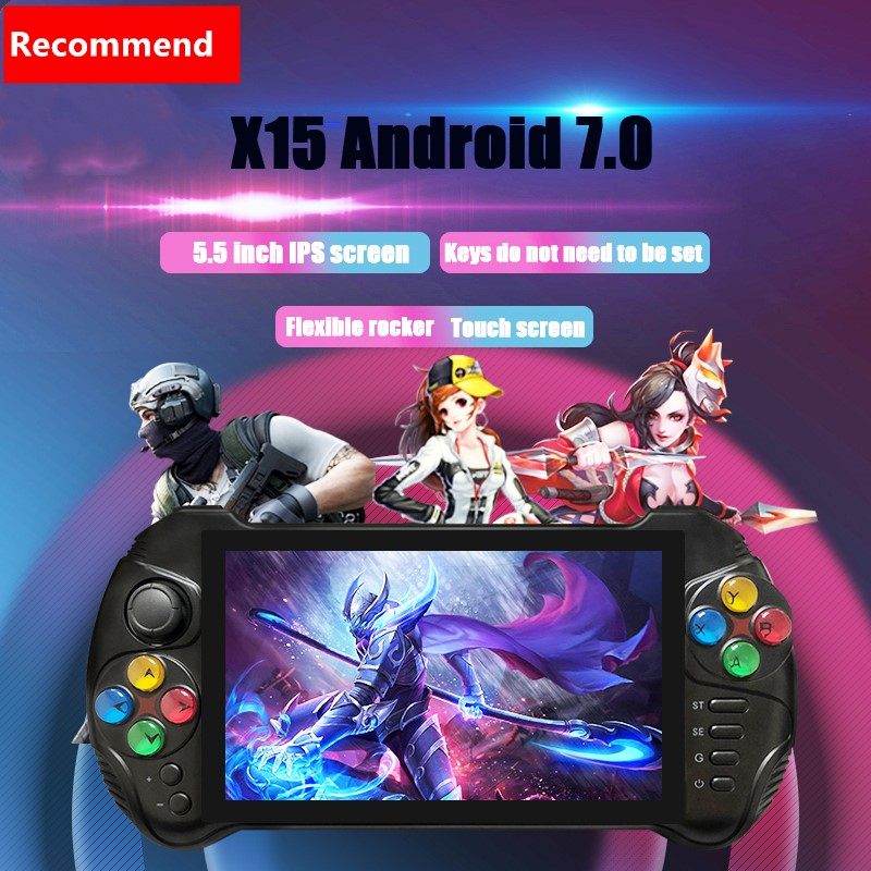 Powkiddy X15 5.5 inch Touch Screen Retro Handheld Game Console Support Android 7.0 wifi Joystick For PSP N64 MD PS GBA GBC image