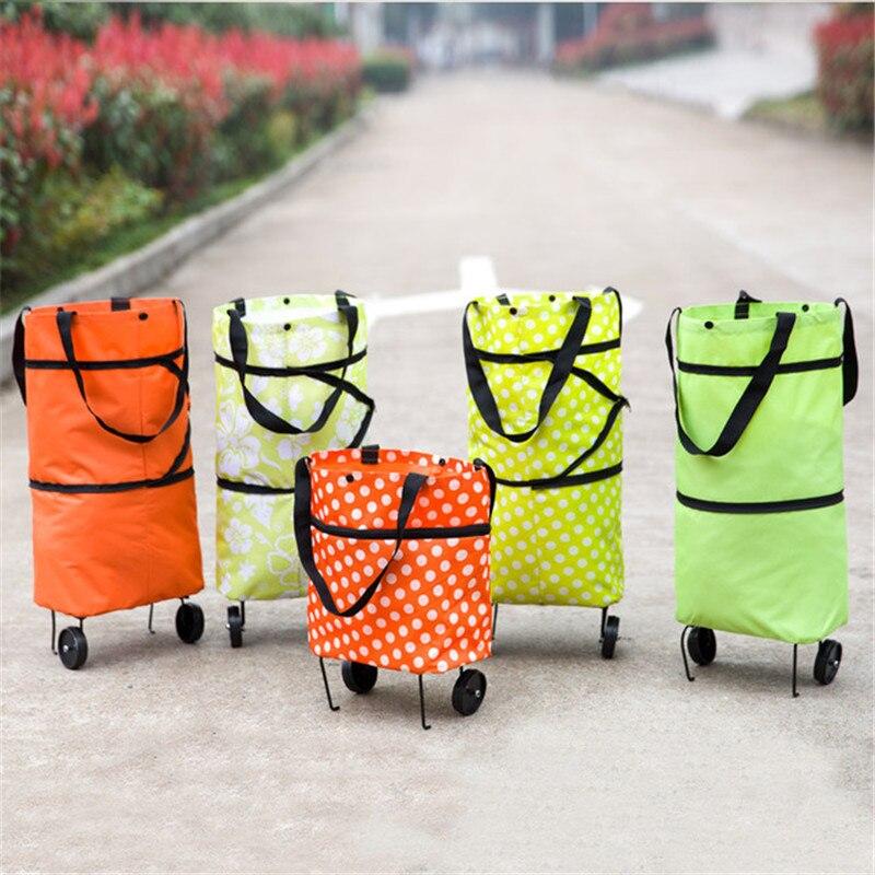 Supermarket Shopping Bag Folding Portable Large Tote Bag Shopping Bag With Wheel Tug Bag Large Capacity Green Bag
