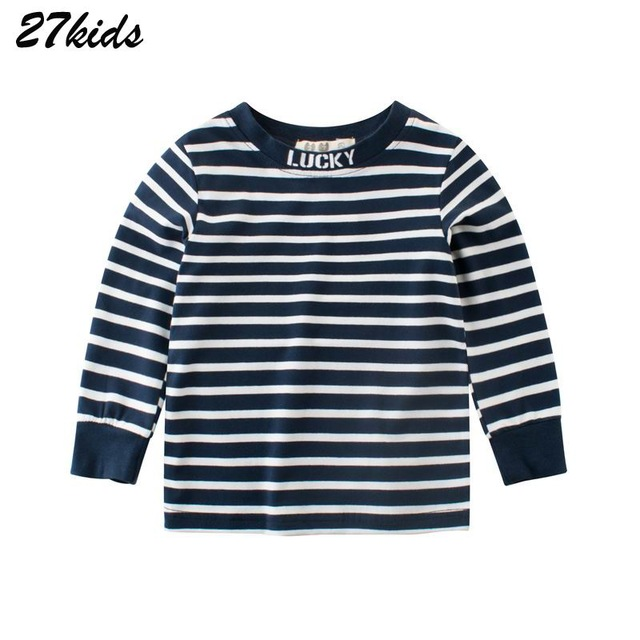 27kids 2-9Years Striped Colors Fashion Big Children Boys Long Sleeve T Shirt Cotton O Neck Baby Kids Girl's Clothing Autumn Top