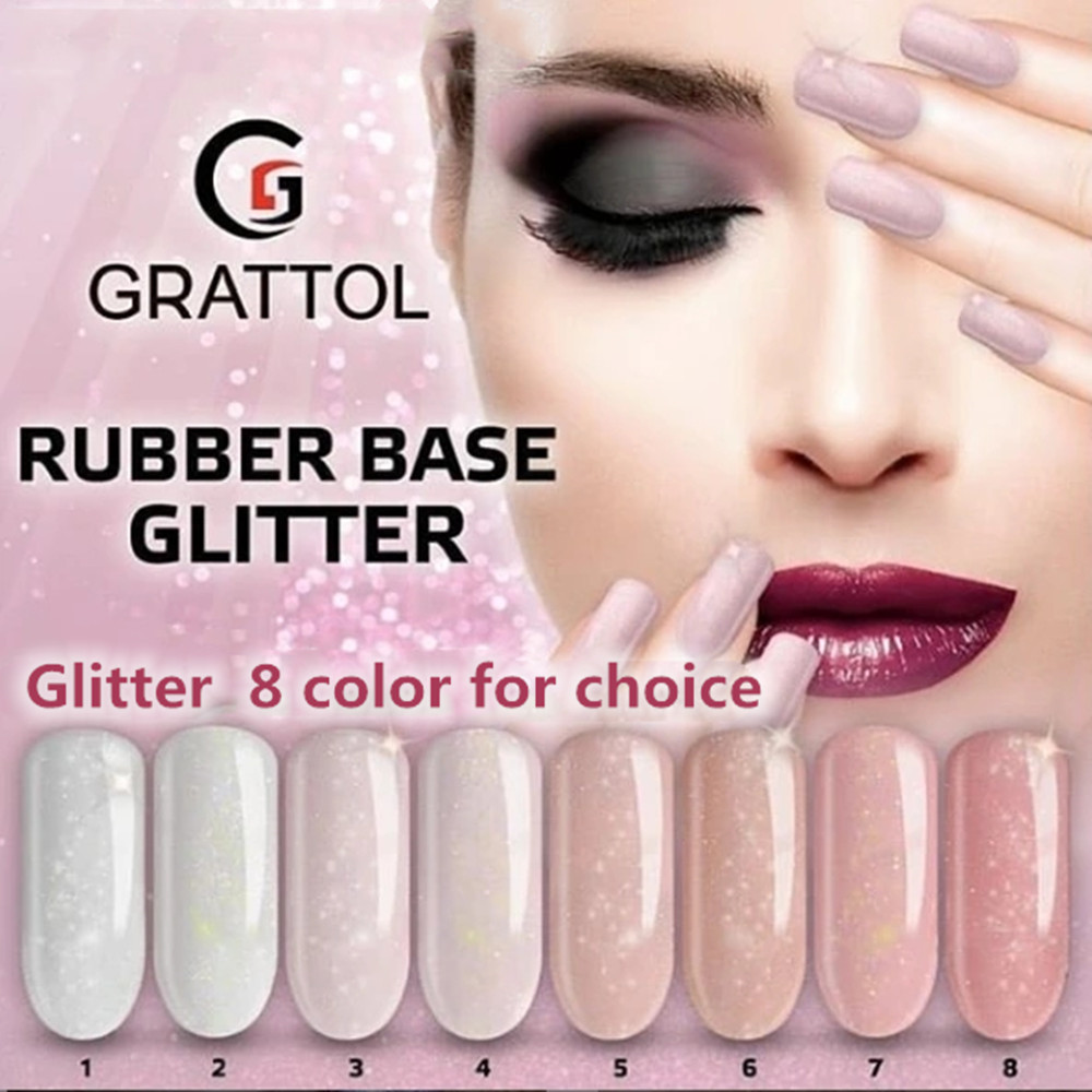 Профессиональный Блестящий резиновый Базовый Гель-лак GRATTOL, 8 цветов, Базовое покрытие для ногтей, маникюрный полуперманентный праймер из закаленного топа