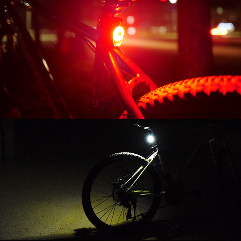 USB Charging Solar Bicycle LED Lights 360 Degrees Revolving Front And Rear Light