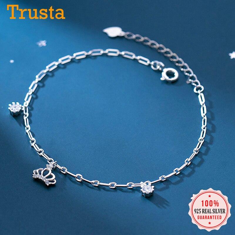 Trustdavis Genuine 925 Sterling Silver Minimalist Charm Crown Shiny CZ Bracelet Anklets For Women Wedding Party Jewelry DA1555