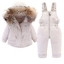 Jumpsuit Jacket Girls 2pcs-Set Winter Children Fur-Collar And Down for Thicken Warm 0-4year