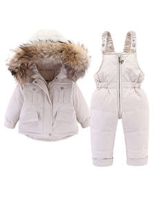 Jumpsuit Jacket Fur-Collar Girls Infant Winter Children 0-4year And Down for Thicken