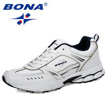 BONA 2019New Designer Running Shoes Men Sports Cow Split Sneakers Male Athletic Footwear Zapatillas Walking Jogging Shoes Trendy