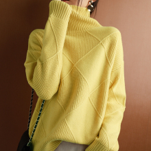 Cashmere sweater women turtleneck sweater pure color knitted turtleneck pullover 100% pure wool loose large size sweater women