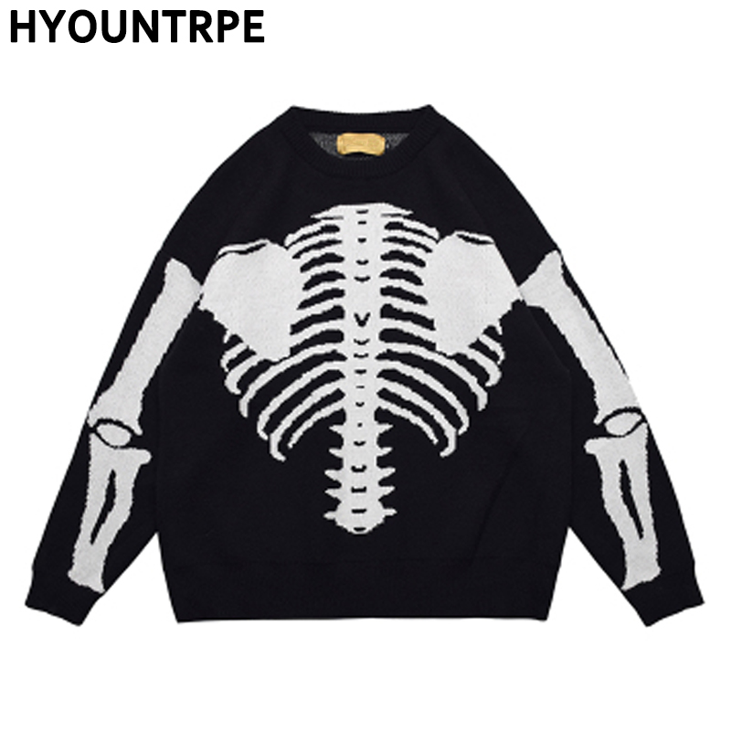 Hip Hop Skull Knitted Oversized Sweater Men Autumn Winter O-neck Long Sleeve Pullover Streetwear Casual Loose Sweaters Clothing