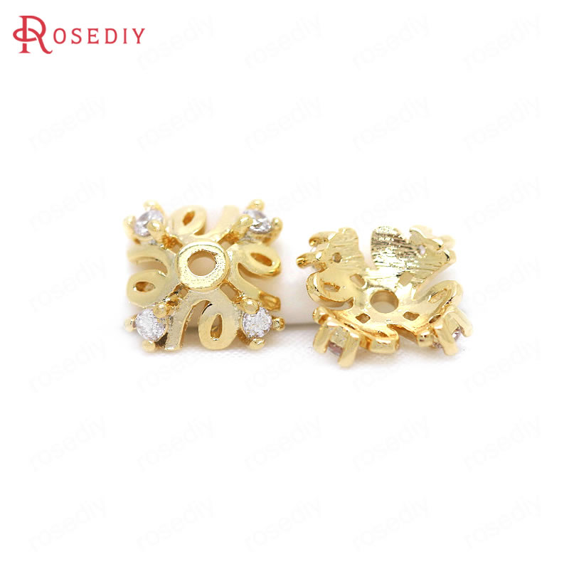 (34302)6PCS 7MM 24K Gold Color Brass With Zircon Square Beads Caps High Quality Diy Jewelry Findings Accessories Wholesale