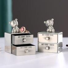 Europeu criativo caixa de jóias de metal alta qualidade gaveta coleção caixa de armazenamento bonito jóias armazenamento organizador perfume