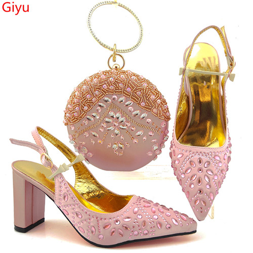 doershow Fashion Women nice pink  Shoes And Bag Set To Match High Quality Italian Shoes With Matching Bags For Party!HYG1-4