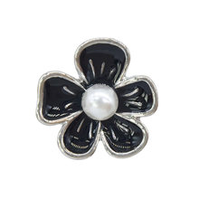 5pcs British Style Flower Shape Shirt Blouse Black White Pearl Drip Oil Button Metal Buttons Accessories Clothing Sewing(China)