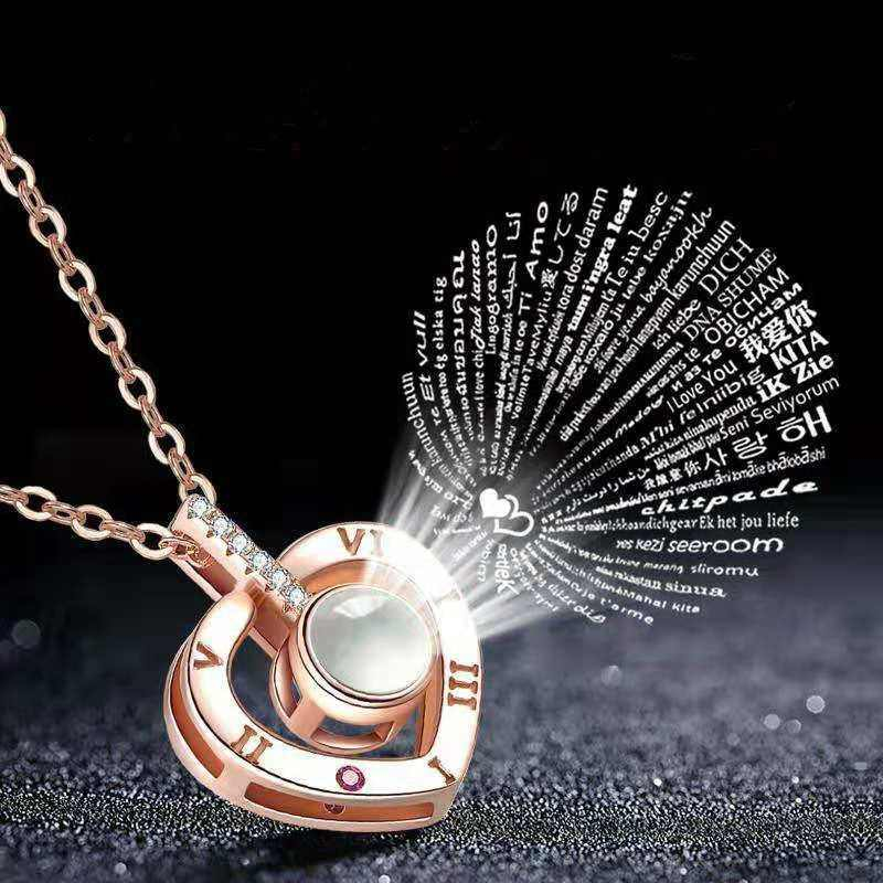 925 Sterling Silver Romantic Love Memory  Necklace Rose Gold&Silver 100 Languages I love You Projection Pendant Necklace