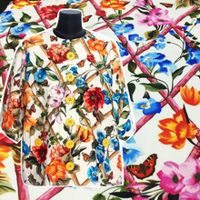 Flower Printed Italian Brand D Fashion Fabric Polyester Woven Garment Shirt Fabrics Per for Dress Meter Home Textile Sewing