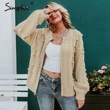 Simplee Vintage pompon twist gebreide vrouwen vest Rits o hals casual dames trui Mode herfst vrouwelijke uitloper vest