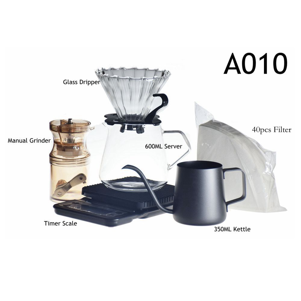 2020 New Household V60 Coffee Dripper Paper Set Coffee Filter Glass Coffee Pot 600ml With Coffee Scale Mini Grinder