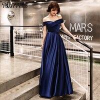 Navy Blue Satin Long Evening Gowns Elegant Boat Neck Off The Shoulder A line Floor length Women Formal Dresses Plus Size 2019