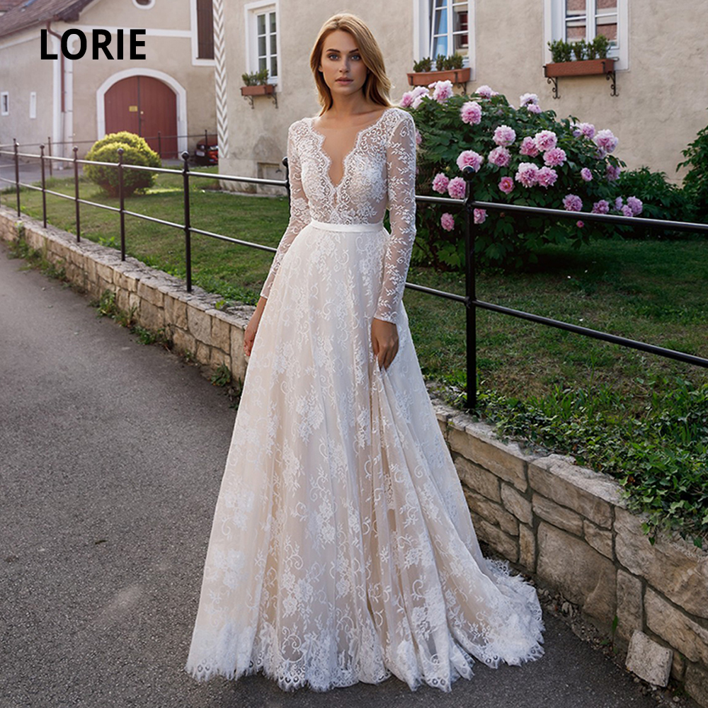 LORIE Elegant Full Lace Champagne Wedding Dresses 2020 Sexy V-neck Illusion Long Sleeve Boho Beach Bridal Gown Backless Marriage