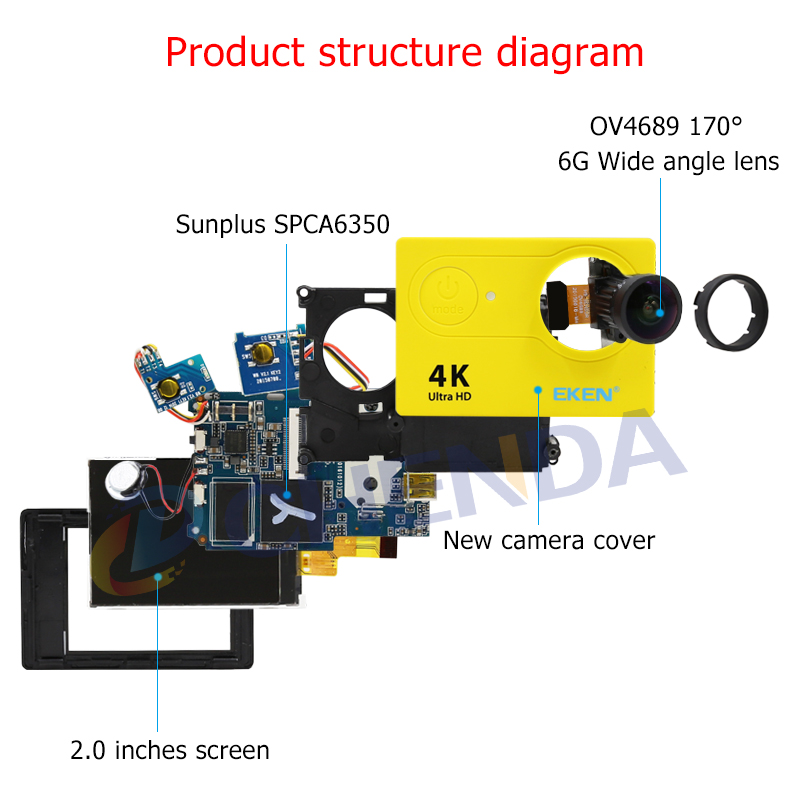 Original EKEN H9 H9R Action Kamera 4 K/30FPS 1080 p/60fps 20MP Ultra HD Mini Helm Cam wiFi Wasserdichte Sport Kamera