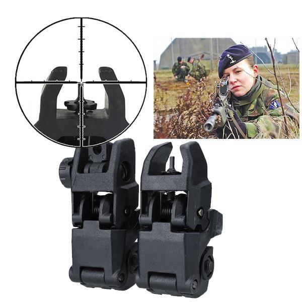 Tactical Folding Front Rear Sight Flip Up Backup Sights BuiS Set Hunting Accessories 2