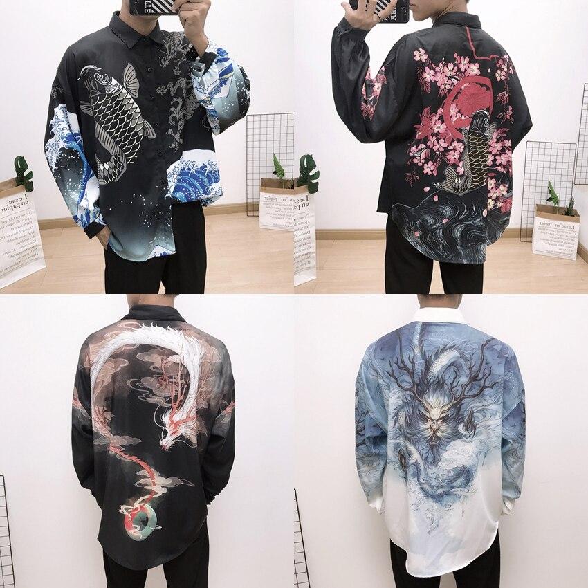 Men Full Sleeve Japan Shirt Kimono Haori Jacket Harajuku KOI Dragon Print Oriental Cusual Loose Oversize Fashion Outfits