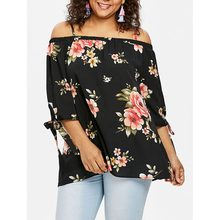 2019 Fashion Plus Size Slash Neck Tops Summer Floral Print Women Shirts Casual Ladies Female Loose 5XL Clothe D30