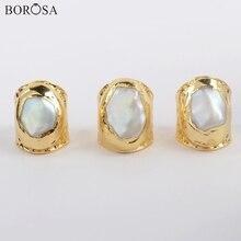 BOROSA 5Pcs Stylish Gold Plating Natural Pearl Bang Ring Freeform Natural Freshwater Pearl Ring Jewelry for Women as Gifts G1880 стоимость