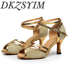 DKZSYIM woman latino dance shoes for girls glitter heel custom ballroom dancing women soft ballroom latin sole salsa dance shoes sparkle glitter woman girl dance dancing latin raks sharki belly ball prom shoes silver gold blue red brown black leather sole