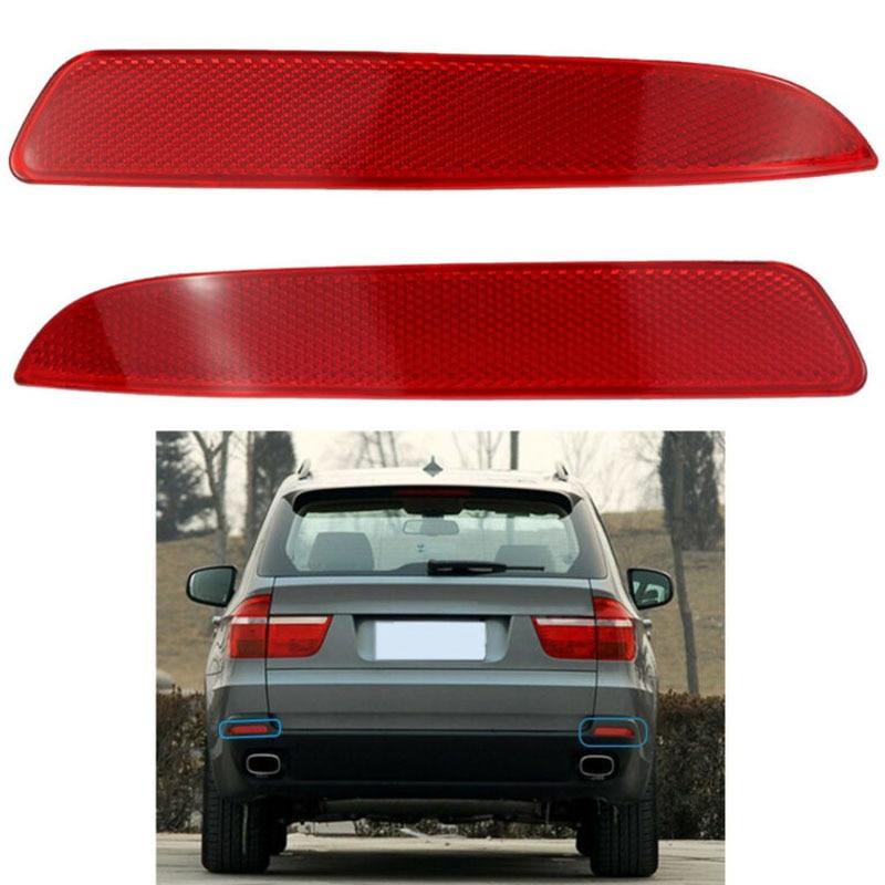 Auto Accessories 21*3.4cm 2PCS Car Rear Bumper Reflector Light Lamp For BMW X5 E70 2007-09 Right + Left 63217158949 63217158950