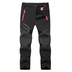 Image 2 - Taktik su geçirmez yürüyüş pantolonu erkekler nefes streç Softshell polar astarlı pantolon açık havada spor sonbahar kış Trekking pantolon