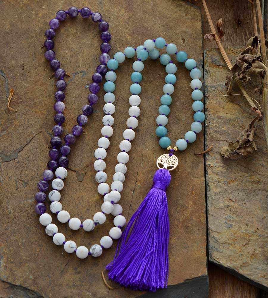 108 ビーズマラ天然石ツリーチャームロングタッセルネックレス女性瞑想ネックレスビーズ結び目ヨガネックレスドロップシップ